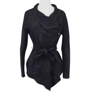 Black Goat Suede Clover Belted Waterfall Jacket